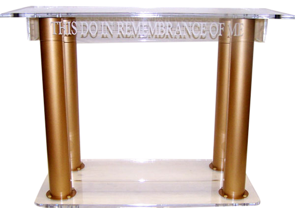 Clear Gold Acrylic Contemporary Pillar Table
