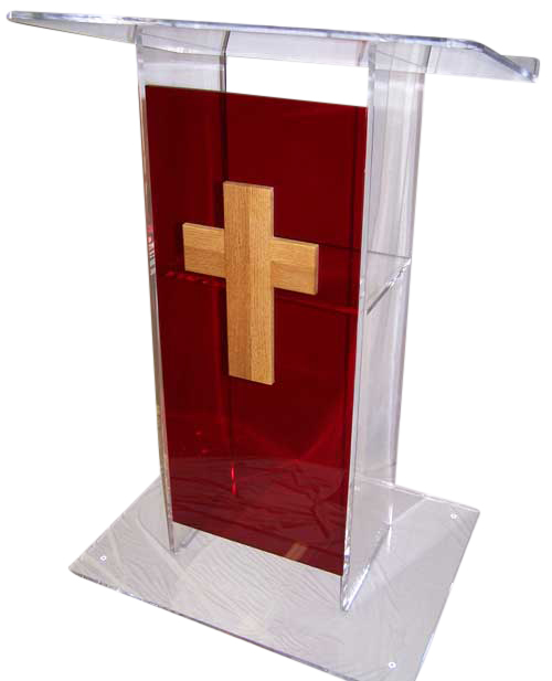 Clear-Red Large Standard Acrylic Podium