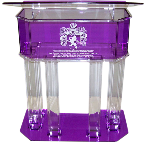 Clear and Purple Pillar Acrylic Podium