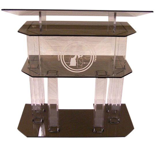 Clear and Smoked Pillar Acrylic Podium