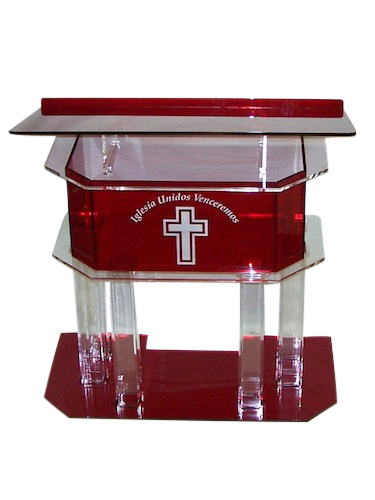 Clear and Red Pillar Acrylic Podium