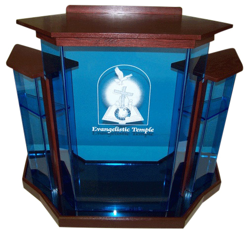 Blue Wingstyle Acrylic Podium
