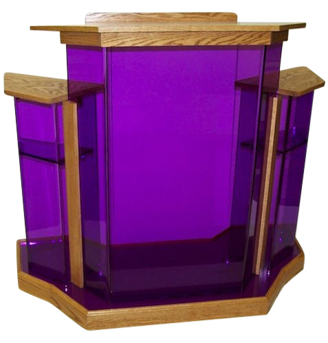 Purple Wingstyle Acrylic Podium